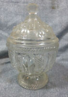 Antique EAPG Flint Glass Cable & Ring Covered Sugar Bowl