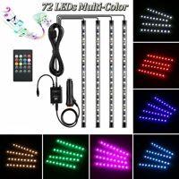 4X 18 LED Car Interior RGB LED Strip Lights Music Control Atmosphere Decorative