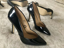❤️ Classic Sexy FIORE Black PVC Patent Pointed Toe Court Stiletto Heels UK7 EU41