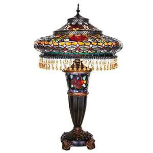 Tiffany Style Table Lamp Multicolor Stained Glass Lit Base w/ Beads & Cabochons