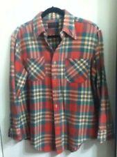 L 16 JC Penney Cotton Flannel Pearl Button Sleeve Red Orange Purple Green White