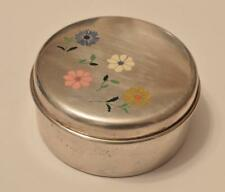 Antique Sterling Silver with Enamel Flowers Design Trinket / Pill Box 41 gram