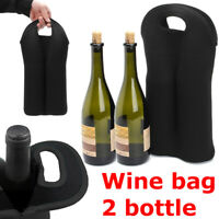 Insulated Neoprene Drink/Wine/Champagne Two Bottle Cooler Bag Carrier Black New