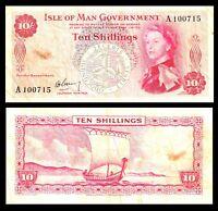 Isle Of Man 10 Shillings 1961 P-24 QE II  Banknote