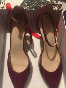 Leona Edmiston red anglet strap leather Marcelle ladies shoes rrp $155 Size 38