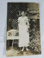 Vintage Real Photo Post Card Pretty Young Lady Dressed in White 1910's? AZO