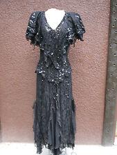 VTG Janine Size Medium Black Lace Sequin Evening Cocktail Goth Dress Grunge (hg)