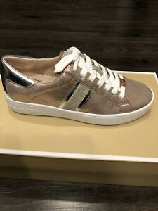 NIB $110 Michael Kors Keaton Metallic Leather Stripe Lace-Up Sneakers Sz 7.5M