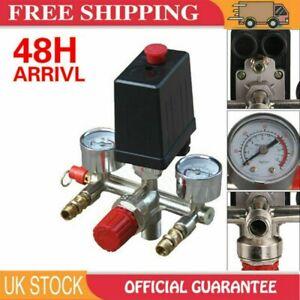 230V Pressure Switch Air Valve Manifold Compressor Control Regulator Gauges Set