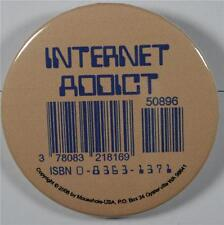 #08034 Pinback Button Barcode Tattoo Internet Addict