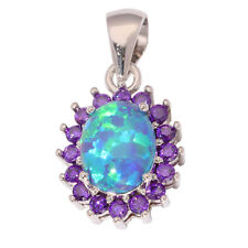 "Blue Fire Opal Amethyst Women Jewelry Gemstone Silver Pendant 7/8"" OD5559"