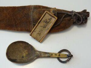 ANTIQUE MONGOLIAN TIBETAN BUDDHIST LAMA'S MEDICINE POUCH with brass spoon