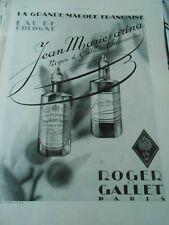 Publicité advertising 1930 Parfum Roger & Gallet Jean Marie Farina eau cologne