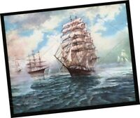 G AMRY painting Tall Sailing Ship galleon sail boat ART PRINT 1960s sea seascape