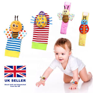 Baby Rattle Set Sensory Toys Foot-finder Socks Wrist Rattles Bracelet UK Stock