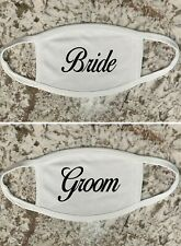 Bride Groom Wedding   Face Mask Double layer with Pocket for filter Washable