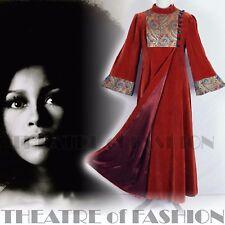 VINTAGE 60s COAT VELVET 70s DRESS ICONIC BOHO WEDDING HIPPY LUXE DESIGNER ART