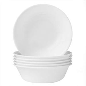 CORELLE CEREAL BOWLS / SOUP SET (6 PIECE) WINTER FROST WHITE MICROWAVE SAFE