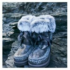 NEW MOU ESKIMO GREY FUR LACED UP SHEARLING WOMEN'S LEATHER WINTER WARM BOOTS 38
