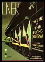 Flying Scotsman LNER Railway Travel Vintage Retro Print Poster Wall Picture A4 +