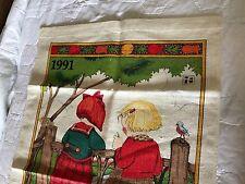 Vintage Kitchen Linen Tea Towel Linen 1991 Calendar Mary Engelbreit Make a Wish