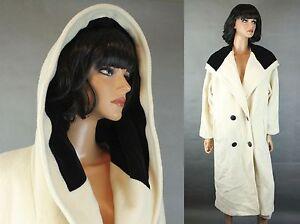 Vintage Trench Coat Sz 12 L Long Off White Ivory 100% Wool Black Velvet Hood 80s