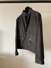 ALFRED DUNHILL MEN'S NUBUCK SUEDE LEATHER JACKET DARK BROWN MEDIUM BIKER JACKET