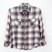 SLADE WILDER Mens Red Gray Cotton Plaid Flannel Button Up Shirt Distressed Sz XL