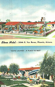 VIntage Postcard-Stone Motel, Phoenix, AZ, two views