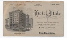 1910 Trade Card for the Hotel Dale San Francisco CA