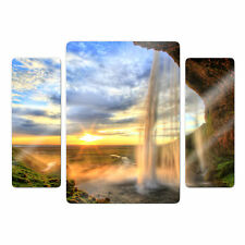 Glas Glasbild Seljalandsfoss Wasserfall (3-teilig) bunt