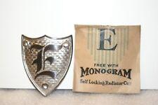 NOS 1920's-1930's Monogram Full Size Metal Motometer Cap Shield Letter E Silver
