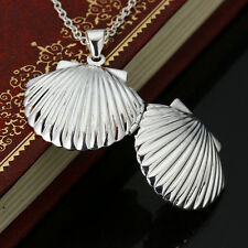 """20"""" 925 Silver Filled Shell Locket Pendant Water Wave Necklace Chain Charms Gift"""
