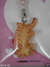 PetLovers Lying Cat (chatora) Figurine Phone Strap Japan