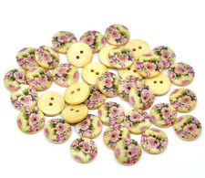 Lot of 10 FLOWER DESIGN 2-hole Wood Buttons 5/8