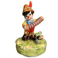 "Vintage Disney Ceramic Schmid Pinocchio Jiminy Cricket Music Box Rare 7"" Tall"