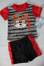 NEW Baby Boys 2 piece Outfit 3 - 6 Month Shirt Shorts Set Tiger Stripe Red Black