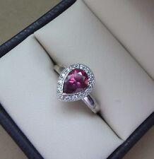 LOVELY 14K WHITE GOLD PEAR SHAPE RHODOLITE GARNET RING W/ SPARKLING DIAMOND HALO