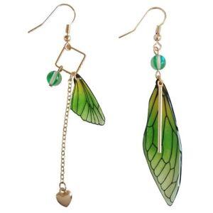 Butterfly Wings Drop Dreamy Green Gradient Color Asymmetric Long Earring Jewelry
