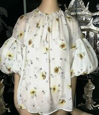 Giambattista Valli White Silk Blouse Dainty Floral Pattern 3/4 Lantern Sleeves S