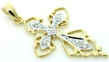 Natural Diamond 9k 9ct 375 Solid Gold Cross Pendant - Bravo Jewellery