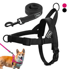 Non Pull Dog Harness & Lead Nylon Front Leading Padded Adjustable Bulldog S M L