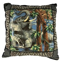 "Throw Pillow African Elephant in Water Walking Bathing 15"" Square Colorful Cute"