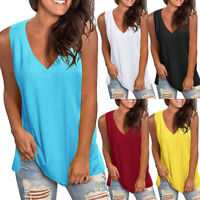 Summer Women Casual Sleeveless T Shirt V Neck Tunic Tank Tops Loose Solid Blouse