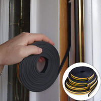 10M Draught Excluder Self Adhesive Rubber Door Window Seal Strip Roll Foam 0cn