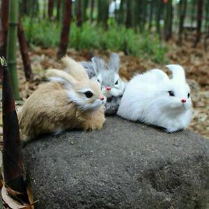 Mini Cute Realistic Plush Rabbits  Fur Lifelike  Easter Bunny Khaki/ White/ Gray