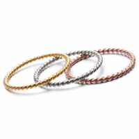 Size4-9 Gift Ring Gold Jewelry Band Simple Twist Steel Tail Rose Stainless Women