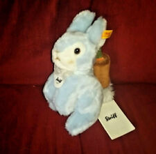 Steiff Blue BUNNY RABBIT Super Soft 8in Blue Plush Carrot Basket NEW All Tags