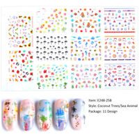 Nail Art Water Decals Transfer Stickers Sea Beach Mermaid Ocean Cartoon 11Pcs