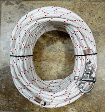 """3/8"""" x 120 ft. Dac./Polyester Halyard,Spliced in S/S Snap Shackle Red Tracer"""